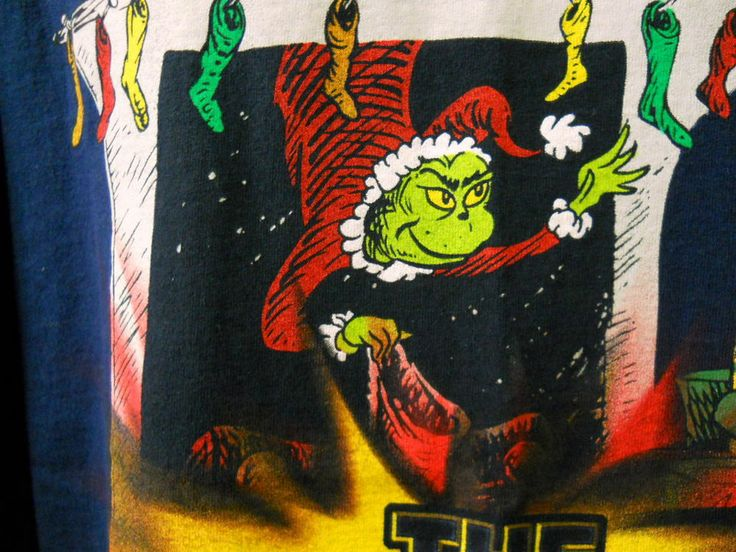 The Grinch Who Stole Christmas Tee Shir Xl Blue Chimney