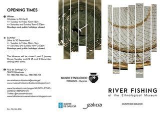 """Folleto exposicion river fishing  Folleto en inglés da exposición temporal: """"A pesca fluvial a través da colección do Museo Etnolóxico"""" que se inaugurou o 10 de xuño de 2016"""