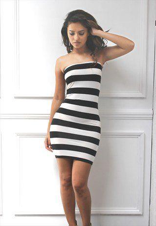 Strapless Mini Boobtube Striped Bodycon Dress