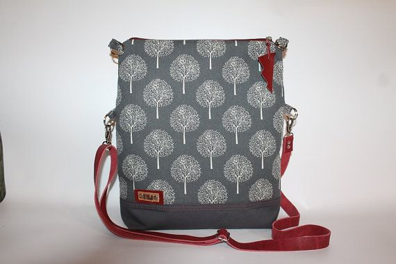 Foldover bag, Grey canvas withe trees,  Tote cross body bag, Women's gif, Everyday bag, Claret leather strap