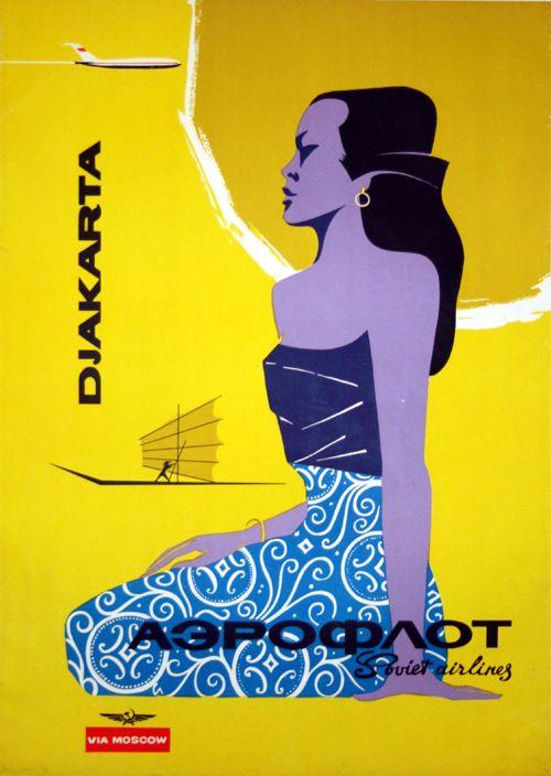 Poster Djakarta Aeroflot Circa 1960 Soviet Airlines