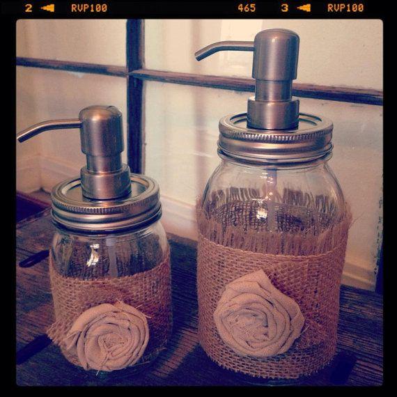 Shabby Chic Burlap and Linen Mason Jar Soap by LucyLocketDesigns, $29.99