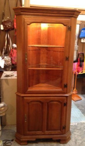 vintage tell city lighted corner oak etched glass corner curio kitchen cabinet eclectic. Black Bedroom Furniture Sets. Home Design Ideas