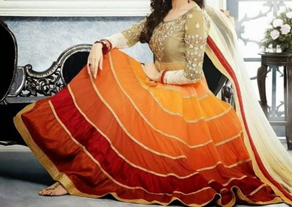 Brown Red Yellow Grey White Contrast Color Anarkali Pishwa Frock