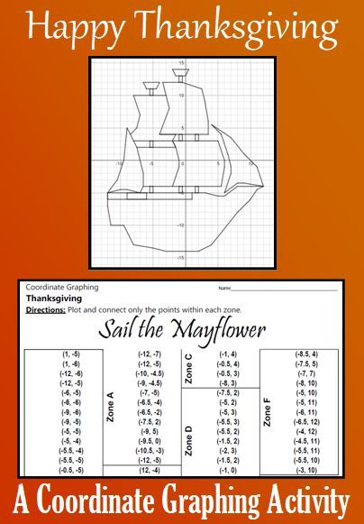 Thanksgiving Sail The Mayflower A Coordinate Graphing