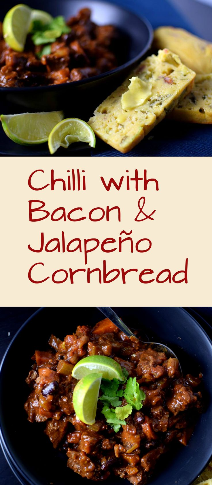 Rich hearty chilli with irresistible bacon and jalapeno cornbread, perfect for those cooler nights.