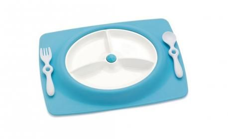 Blue Mate Stay Put Mat and Plate by Skip Hop - online baby meal time accessories