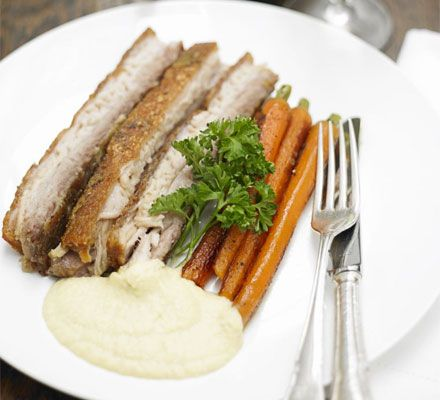 Twice-cooked pork belly with an onion & apple velouté recipe - Recipes - BBC Good Food