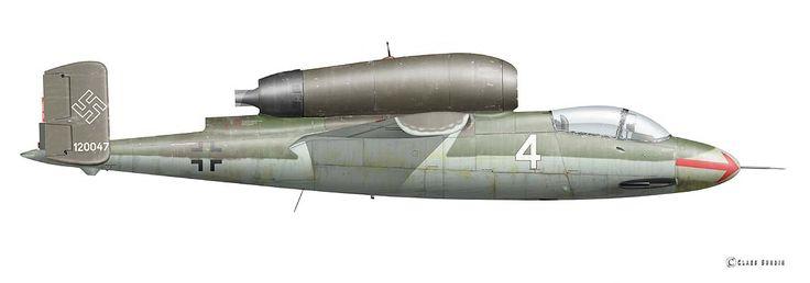 Heinkel He 162 A-2,White 4 of 1./JG 1, Flown by Major Werner Zober, Leck/Germany, 5 May 1945  © Claes Sundin 2017