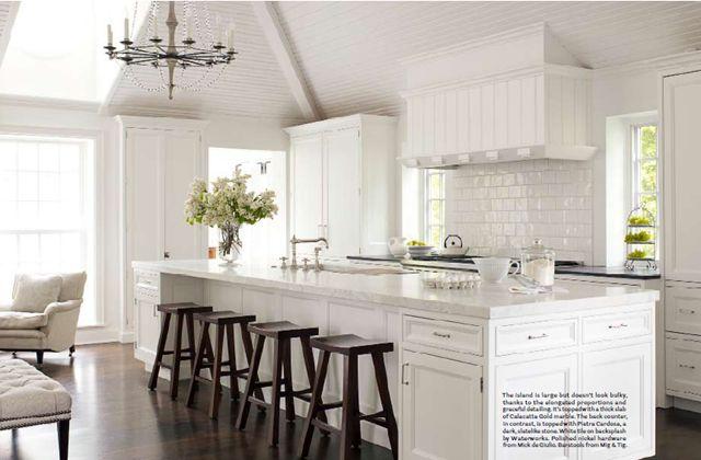 Classic: Idea, Dreams Kitchens, Kitchens Design, Subway Tile, Islands, Bar Stools, Open Kitchens, White Cabinets, White Kitchens