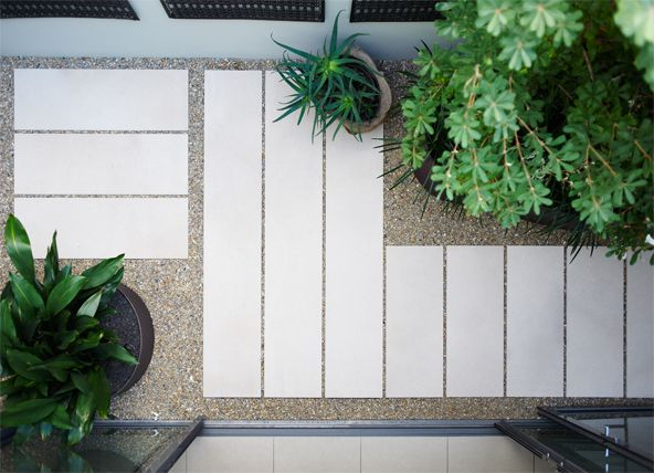 Dawes Point | Garden Life - love the steppers in crushed stone / pebbles