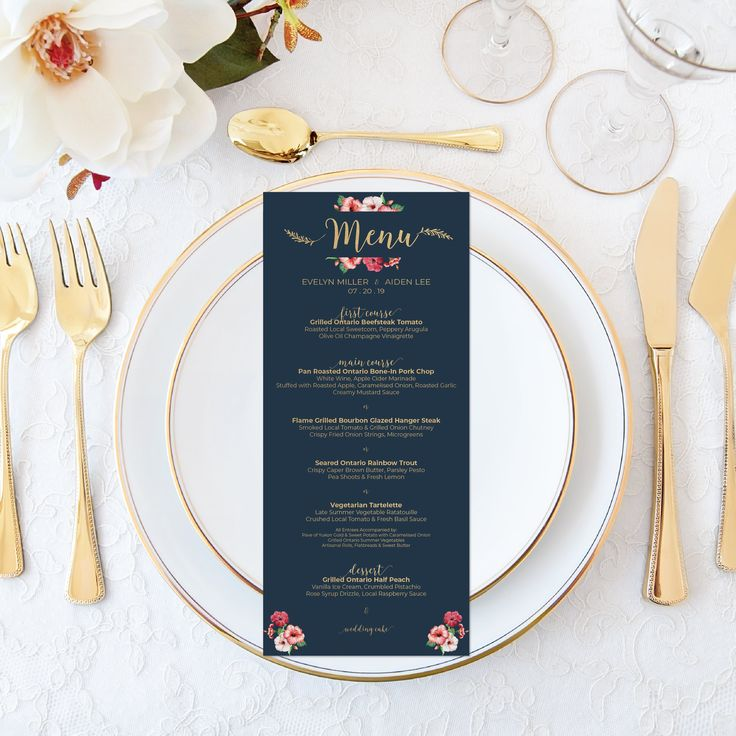 Printable Wedding Menu Personalized Watercolor Floral Wedding Menu Elegant Wedding Set Calligraphy Wedding Stationery Navy Faux Gold Foil by OnionSisterCreative on Etsy