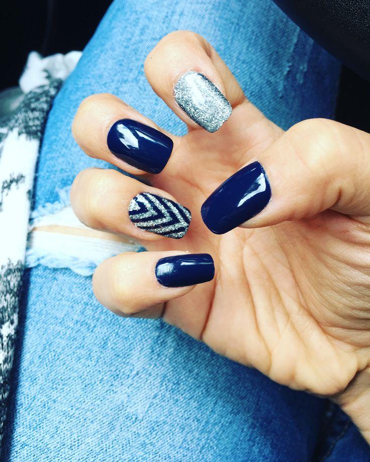Navy Blue Chevron Glitter Nails