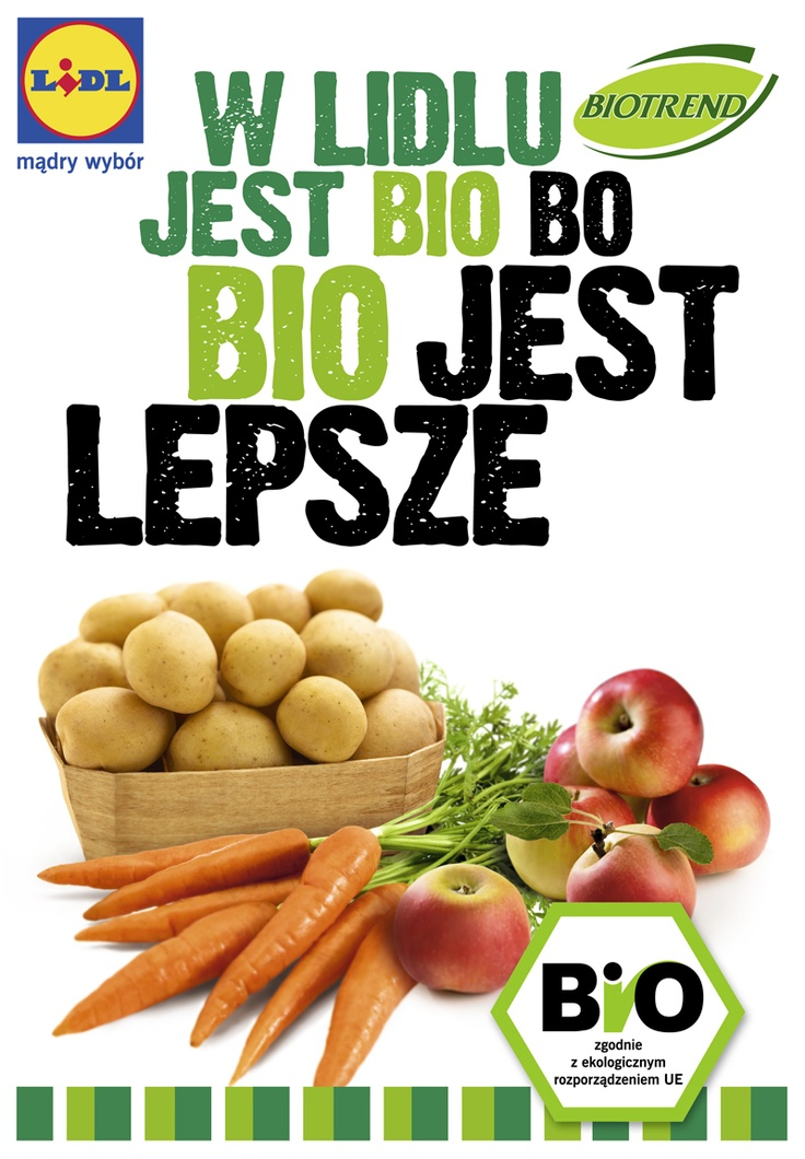Dostępne w Lidlu ekologiczne i owoce marki BIOTREND pochodzą z certyfikowanych upraw, które odbywają się bez oprysków chemicznych, bez nawozów sztucznych, bez stymulatorów wzrostu, bez modyfikacji genetycznej, bez konserwantów.