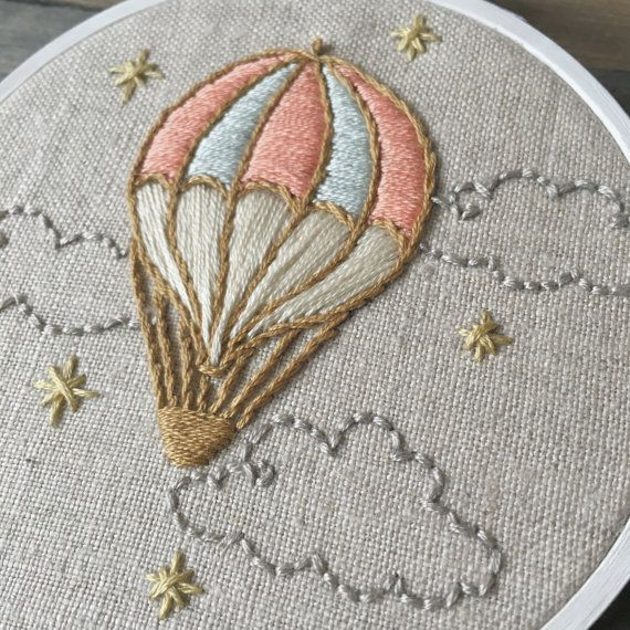 Hot Air Balloon with Clouds  Hand by LittleThimbleStudios on Etsy