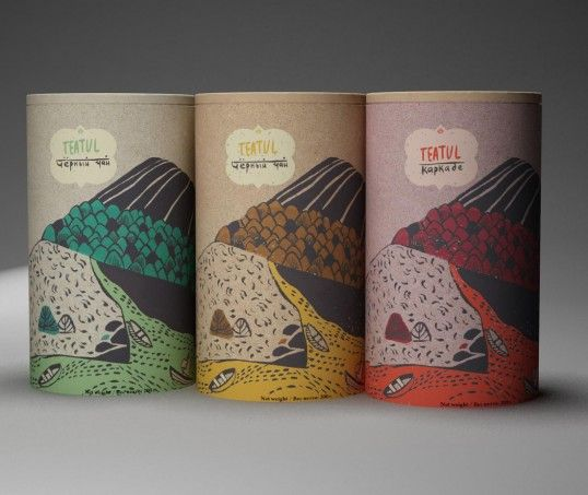 Love the landscape illustrations & natural feel of this tea packaging.