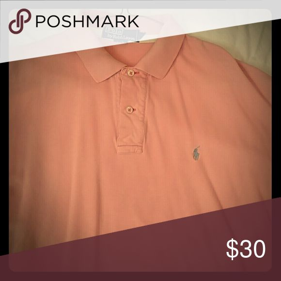 Pink short sleeve cotton mesh Polo This is a pink cotton mesh shirt by Polo by Ralph Lauren. Size medium.  Excellent pre-loved condition. The color is a cross between salmon and bubble gum, too pink to really be salmon, too muted to be bubble gum.  Great, flattering color. Polo By Ralph Lauren Shirts Polos