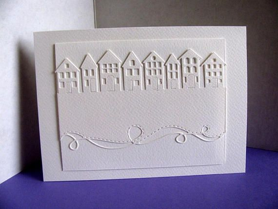 5x7 Creamy Ivory Card Houses in a Row and Swirly Border / Home handmade by etsy.com