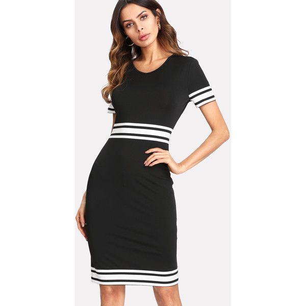 SheIn(sheinside) Striped Panel Form Fitting Dress ($16) ❤ liked on Polyvore featuring dresses, black, summer dresses, sheath dresses, short sleeve dress, short sleeve sheath dress and v-neck dresses