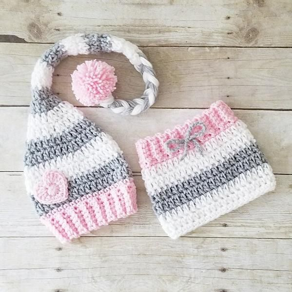 Crochet Baby Girl Valentine's Day Heart Beanie Hat Skirt Set Striped Stocking Cap Infant Newborn Baby Handmade Photography Photo Prop Baby Shower Gift Available