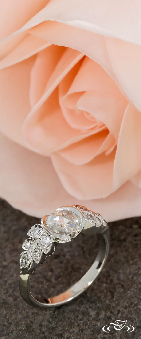 An Antique Styled Rose Cut Engagement Ring. Green Lake Jewelry
