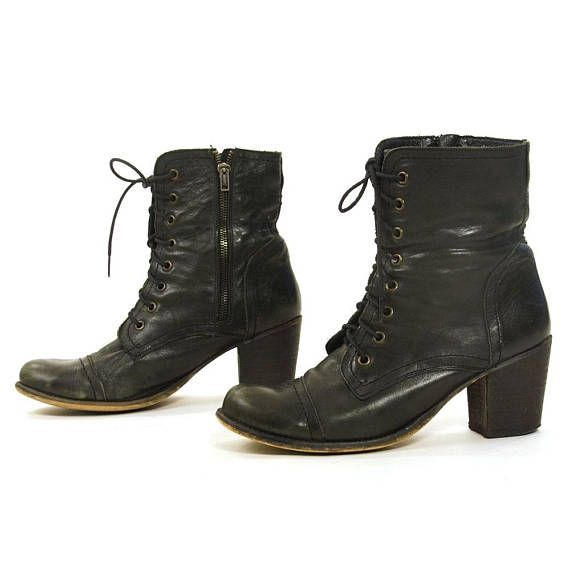 Women's Vintage Comfort Round Toe Lace Up High Top Booties Flat Short Ankle Boots Shoes
