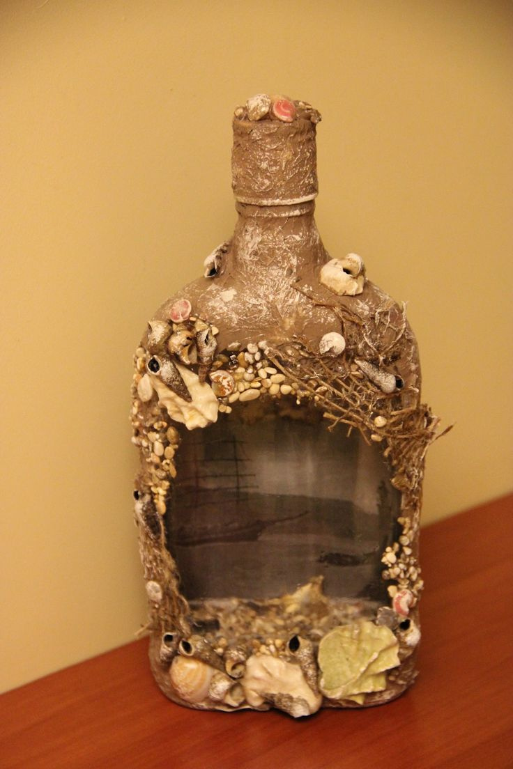 """Декорирование бутылки """"3D"""" (bottle decoration)."""