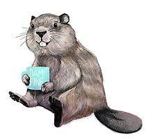 Illustration   Otter   Tiere   Kaffee   Kaffeebecher   Otter mit Becher in der Hand   kreativ   Kreativität   Kunst & Design