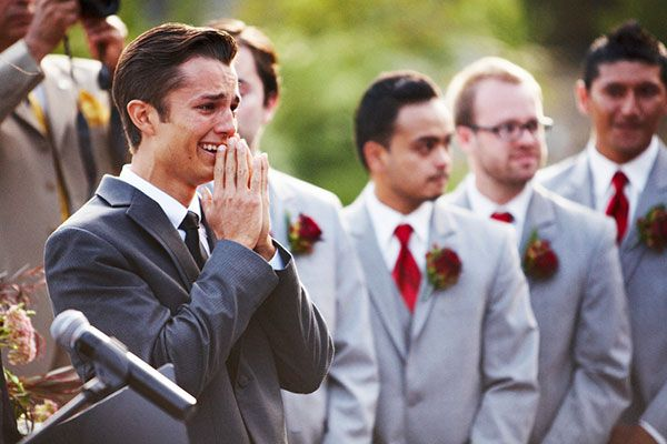 So sweet! This groom was completely overcome with emotion as he watched his bride walk down the aisle.