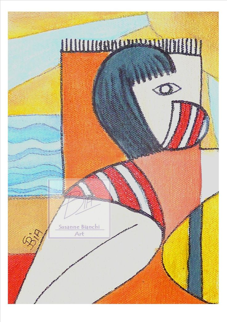 Striped Bikini and Yellow Beach Hat. Print of Original Painting in Picasso Style, Wall Art, Shelf Art, suit a Modern Home in A5 or A4 Poster by ArtiSueBee on Etsy