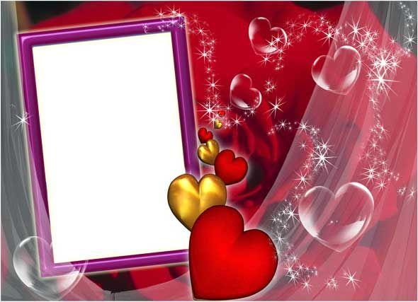 Романтическая рамка для фото с красной розой и сердечками