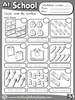 At School - Worksheet 1 (B&W version)