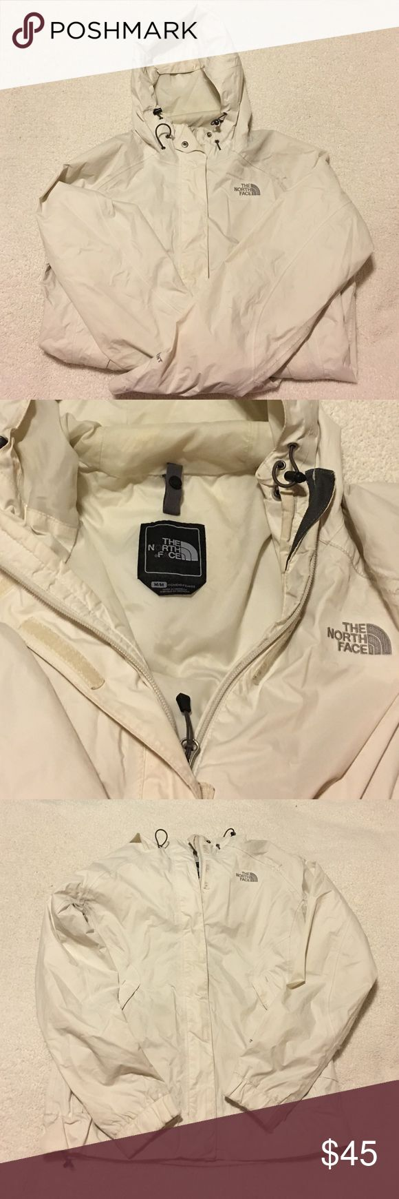 White North Face Raincoat This White North Face Raincoat has some signs of wearing, but still has a lot of life left. Sadly, I live in an area that has more than light to moderate rain. North Face Jackets & Coats