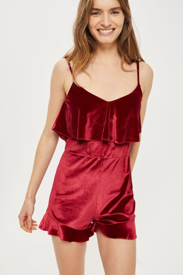 **Frill Front Velvet Playsuit by Oh My Love - Clothing- Topshop