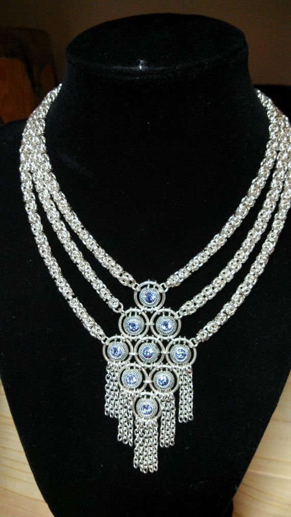 Chainmaille necklace made with silver plated wire and Swarovski crystal components.