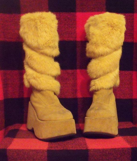 ϟ Real Rabbit Fur Demonia Platform Boots ϟ