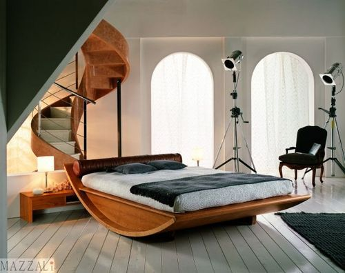 lit double baldaquin contemporain en bois massif emiselene mazzali spa - Lit Double En Bois Massif