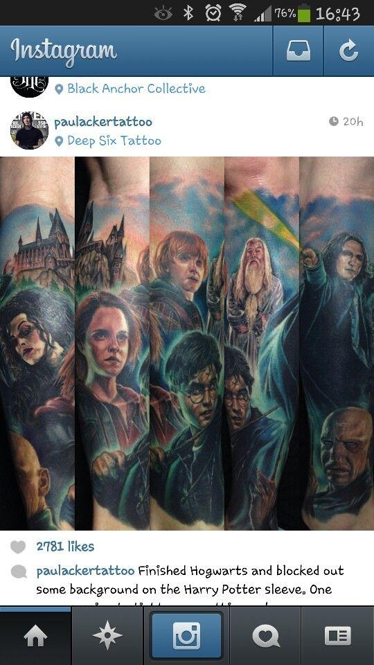 Harry potter sleeve tattoo harry potter tattoos for Harry potter sleeve tattoo
