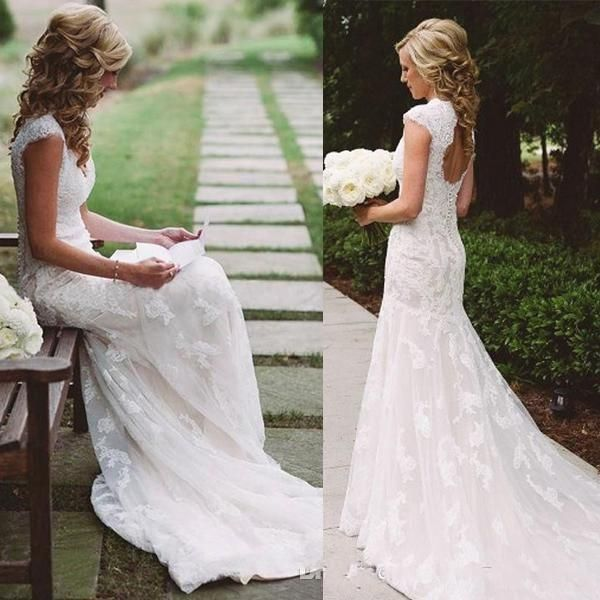 Vintage Country Wedding Dresses Mermaid Lace Backless V-Neck Applique Long Sweep Train Formal Bridal Gowns Vestios De Novia