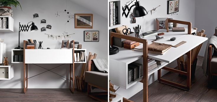 Voelkel Mio Collection,Secretaire on Medium Ladder Style Beech Frame. The Davenport Desk can serve as a place to store documents, a laptop, chargers, etc. By opening the worktop and supporting it with a special bracket, the user can also create a place to work.