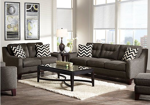 Shop for a cindy crawford hadly gray 7pc classic living for Cindy crawford living room furniture
