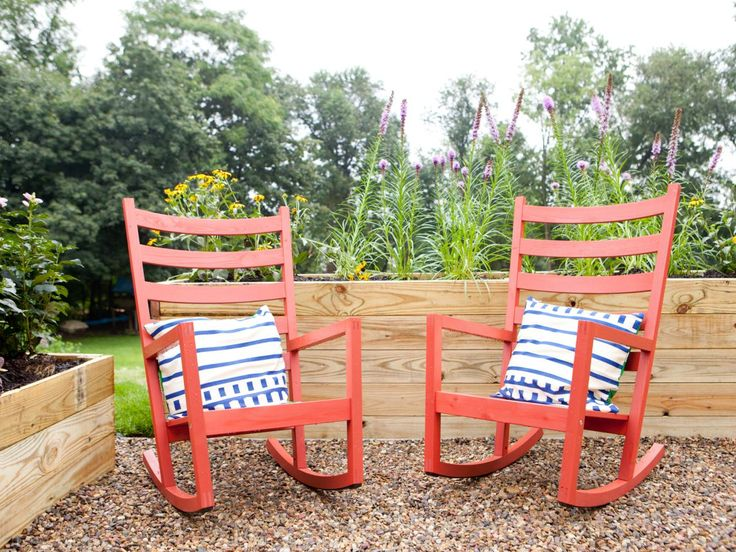 Red Rocking Chairs In Outdoor Living Space | HGTV. Contemporary ...