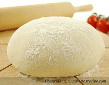 Easy Pizza Dough Recipe. Does take 1 1/2 hours to rise.