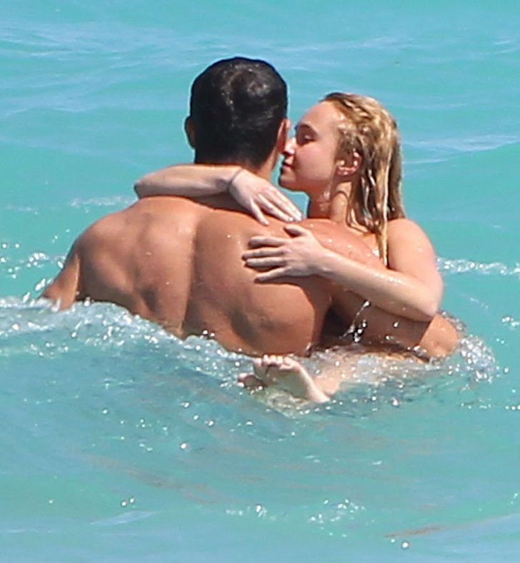 Pin for Later: You'll Need to Cool Off After Seeing These Sexy Celebrity Beach PDA Pictures  Hayden Panettiere and her fiancé, boxer Wladimir Klitschko, showed sweet PDA in the ocean while at the beach in Miami back in April 2013.