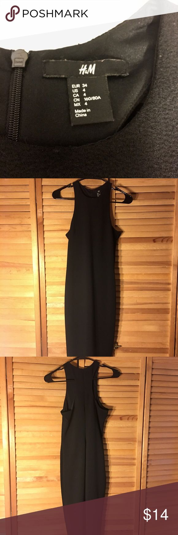 H&M Size 4 (EUR 34) knee length black dress This black H&M knee length size four dress has been worn a handful of time. It's in great condition. It's comfortable and you're able to move around in it. It's perfect for weddings or a even wearing out for the night. You can dress it up or make it more casual with a leather jacket and pair of adidas tennis. H&M Dresses Midi