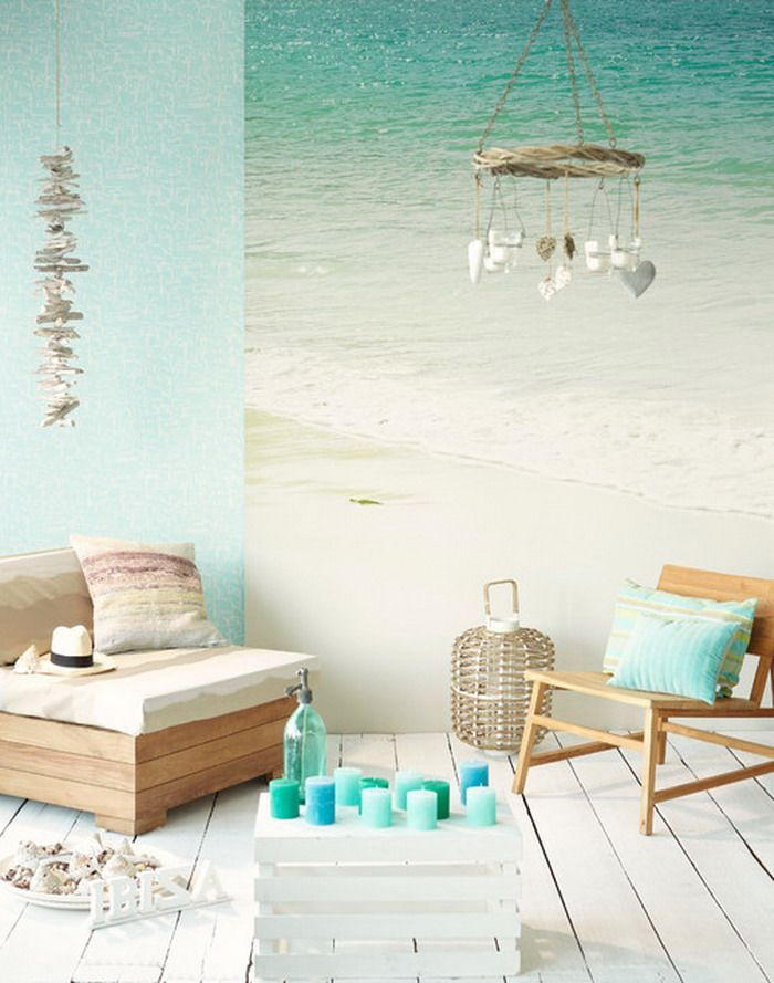 Living Room Ideas with Beach Wall Mural | Only Murals