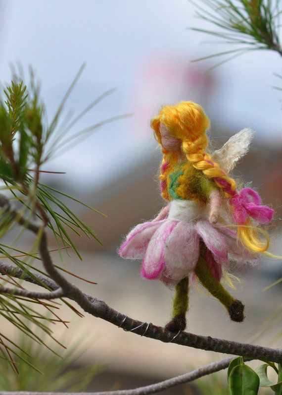 Needle felted Waldorf  Little Flower Fairy ornament-Christmas tree decoration .Soft sculpture