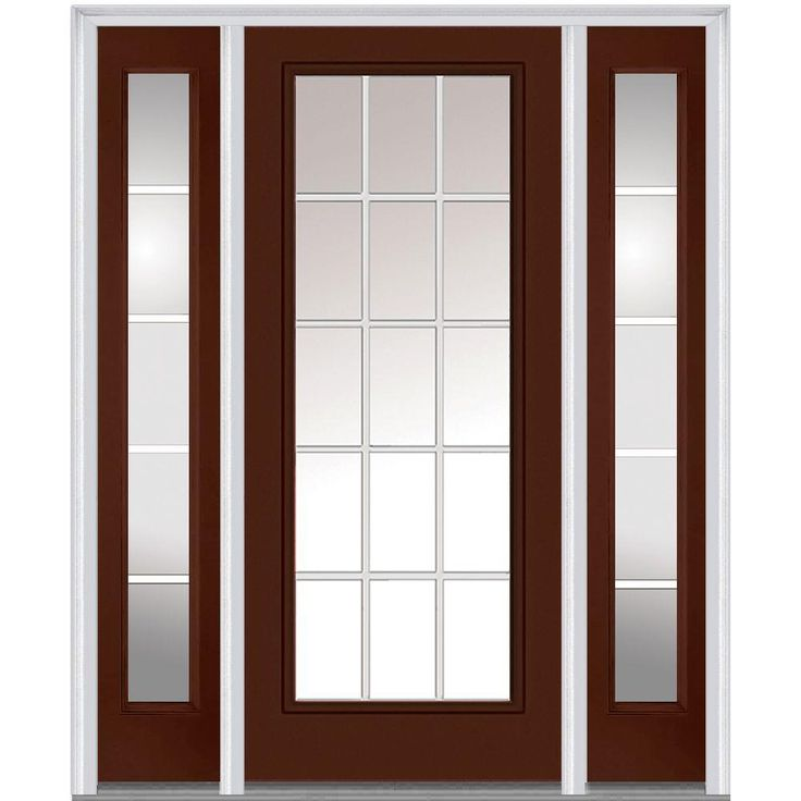 Milliken Millwork 64.5 in. x 81.75 in. Classic Clear Glass GBG Low-E Full Lite Painted Makestic Steel Exterior Door with Sidelites, Redwood
