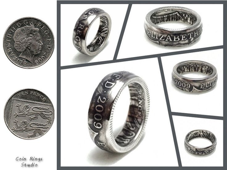 British Coin Ring - Amazing Souvenir from Great Britain - 10 Pence - Rings from Coins - Handcrafted - Elizabeth by CoinRingsStudio on Etsy