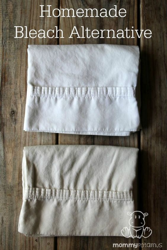The effectiveness of this simple homemade bleach alternative speaks for itself. These two pillow cases from my attic were the same color before I treated one of them.